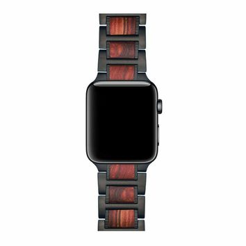Apple iWatch Natural Wood Red Sandalwood Black Stainless Steel