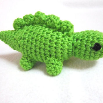 Crochet Green Dinosaur Little Pocket Guy in Bright Green, Stuffed Stegosaurus, Pocket Pal, Easter Basket Gift