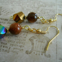 Brownstone Beaded Earrings Gold Copper Bronze Brown Metallic Glass Beaded Jewelry