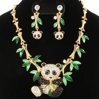 "16"" crystal paved bamboo 2"" panda choker necklace 2"" earrings"