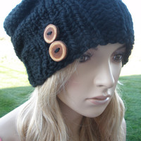 Black Slouchy Hand Knit Oversized Ribbed Woodsy Beanie Hat With Wood Buttons
