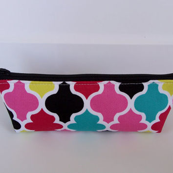 NEW**Mini Lattice Multi Color Monogram Waterproof Lining Zippered Cosmetic Make Up Bag/Pouch/Accessory/Gadget Case/Bridesmaid Gift