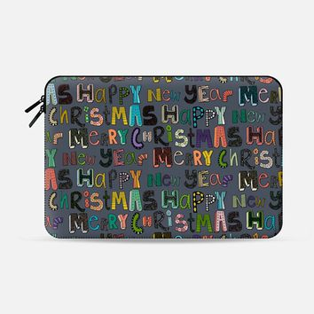 metal merry christmas happy new year Macbook Pro 13 sleeve by Sharon Turner   Casetify