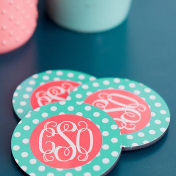 Monogrammed Round Coasters - Set of 4
