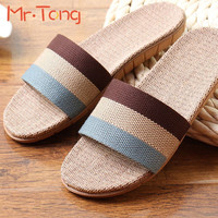 Hot Home Women Men Adult Slippers Summer Linen Comfortable Flax Knitted Striped Bedroom Slipper Couple Woman Man Indoor Shoe