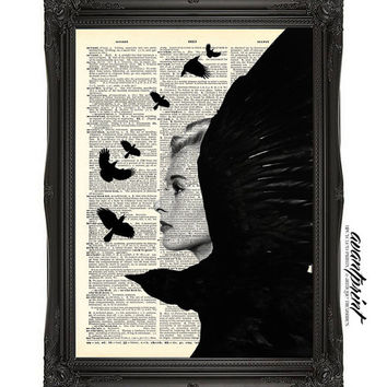 Tippi Hedren with The Birds Retro Film Print on an Unframed Upcycled Bookpage
