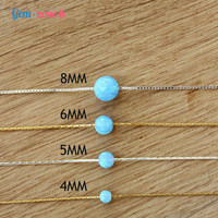 5MM Dot opal necklace, light blue lab opal ball bead, type of necklace to your choice, gold filled or sterling silver, dainty charm necklace