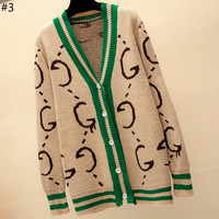 GUCCI 2018 new letter printed long-sleeved V-neck knit cardigan sweater coat #3