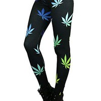 World of Leggings Rainbow Marijuana Leggings