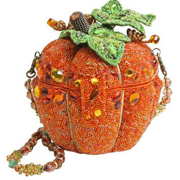 MARY FRANCES Beaded After Midnight Pumpkin Purse - Unique Vintage - Bridesmaid & Wedding Dresses