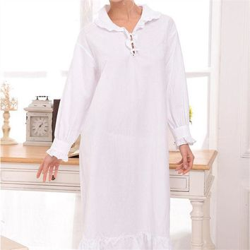ICIKF4S New Arrival Vintage Nightgowns Sleepshirts Elegant Lady Dresses Princess Sleepwear Lace Home Dress Sexy Sleep & Lounge #H122