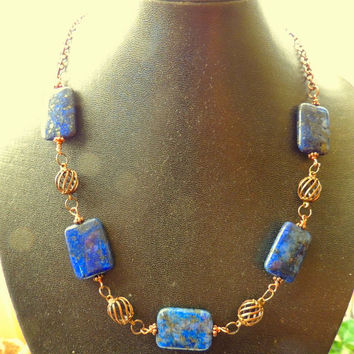 Lapis and Copper Gemstone Necklace, Statement Necklace, Lapis Lazuli Necklace, Cobalt Blue and Copper Jewelry, Handcrafted