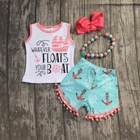 Whatever Floats Your Boat Girls Pom Shorts Set