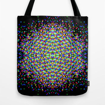 Colorful Tote Bag - Neon Burst - Tote Bag, Art Tote Bag, Black Tote, Neon Colors