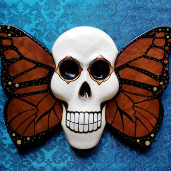 Skull Winged Skull Butterfly Skull Hand Painted Skull Art Wall Mask Home Decor Day of the Dead Inspired Chrysalis READY TO SHIP