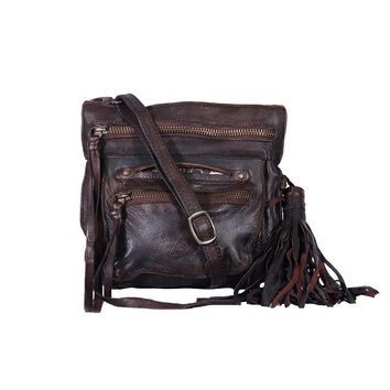 Stretta Small Leather Crossbody and Belt Hip Bag - Vintage Distressed Brown