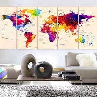 "Xlarge 30""x 70"" 5 Panels 30x14 Ea Art Canvas Print Watercolor Map World Push Pin Travel cities Wall beige background decor Home (framed 1.5"" depth)"