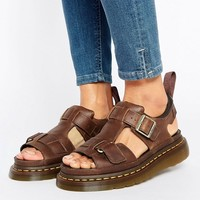 Dr Martens Hayden Grunge Tan Leather T-Bar Flat Sandals at asos.com
