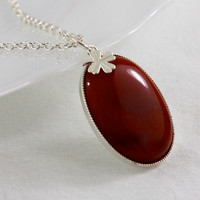 Carnelian Pendant Necklace with Clover Charm, Silver Chain