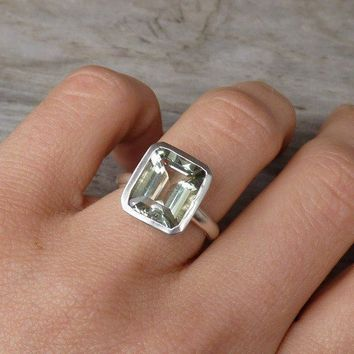 Rock Fetish Green Amethyst Emerald Cut Ring in by onegarnetgirl