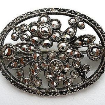 Sterling Silver Floral Marcasite Brooch Gemstone Pin
