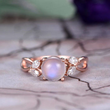 7mm Round Cut Moonstone Engagement Ring,14k Rose Gold band,Marquise moissanite ring,Infinity wedding Band,Prongs,Promise Ring,Gift for her