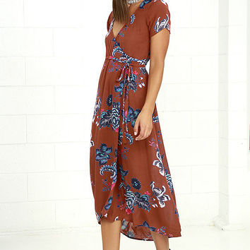 Billabong Wrap Me Up Rust Red Floral Print Wrap Dress