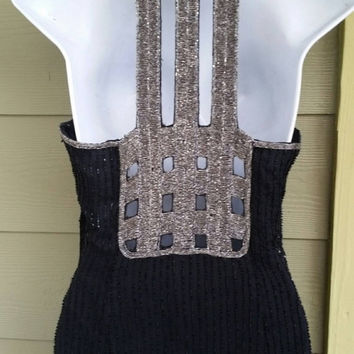 Vintage Scala 70s 80s Black & Silver Beaded Deco Inspired Halter Dress size Medium