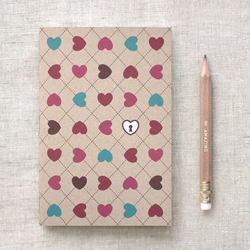 Valentine Gift - Journal with Pencil - Hearts & Lock, Ecofriendly Mini Journal - Unique, Stocking Stuffer