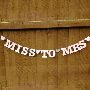 Hl-Miss To Mrs Banner Bunting Bridal Shower Bachelorette Hen Party Night Decoration