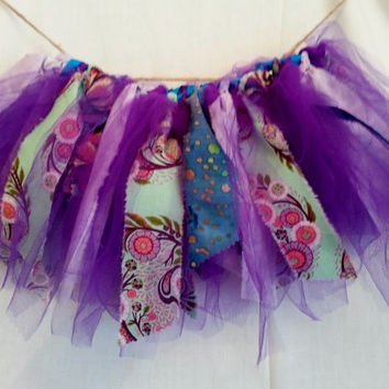 Shabby Chic Short Tutu Skirt ~ Scrappy Tutu ~ Fabric Tutu ~ Birthday tutu ~  Purple Aqua  tutu ~18 inch waist tutu