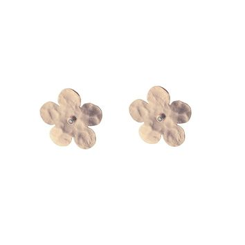 Large Rose Gold Hammered Flower & CZ Stud Earrings in Sterling Silver, 20mm