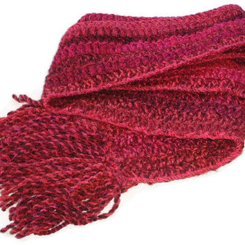 Hand Crochet Traditional Scarf in Reds. Mens Chunky Scarf, Womens Crochet Scarf, Unisex, Fashion Accessories, Winter Warmers.