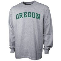 Oregon Ducks Ash Vertical Arch Long Sleeve T-shirt