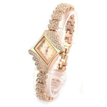 New Fashion Women Crystal Quartz Rhombus Bracelet Bangle Wrist Watch