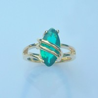 Tropical Teal Cubic Zirconia Ladies Fashion Ring Size 7