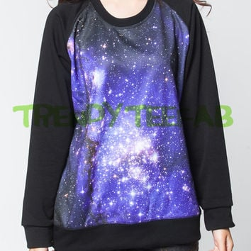 Galaxy Jumper Lighting Stars Glitter Sweater Long Sleeved Women Black Sweatshirts Shirt T-Shirt Size S , M , L