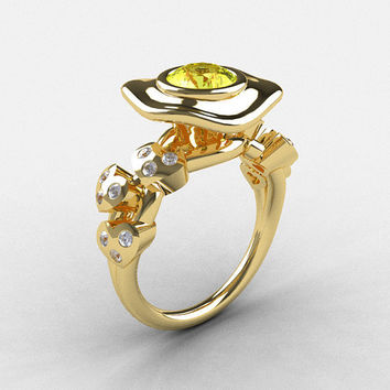 14K Yellow Gold Yellow Sapphire Diamond Leaf and Mushroom Wedding Ring, Engagement Ring NN103A-14KYGDYS