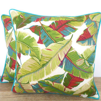 Palm tree pillow cover 18x18, outside green leaf pillow Beverly Hill, tropical outdoor cushion swaying palm, banana leaf pillow island decor