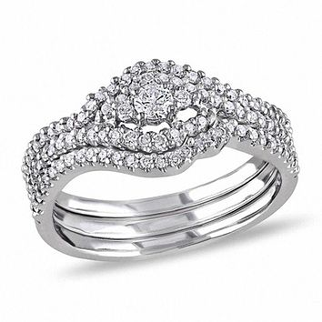 1/2 CT. Diamond Swirl Three Piece Bridal Engagement Ring Set in 14K White Gold