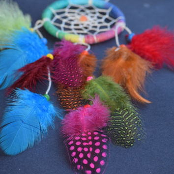 Car Dream Catcher Small Rainbow Rear View Mirror Charm AGATE Stone