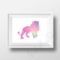 Lion Poster Art - Lion watercolor art, Home Decor, Nursery Art Decor, Lion Print Art, Animal Art