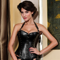 2016 Trending Fashion Leather Black Body Shaping Waist Trainer Underbust Slimming Bustier Corset _ 2335