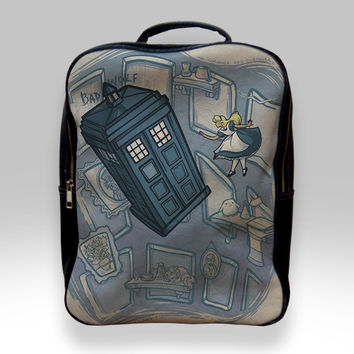 Backpack for Student - Alice in Wonderland on Doctor Who Mashup Bags