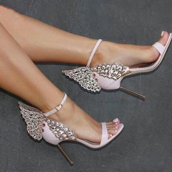 Pink Silver Champagne Butterfly Wings Bride Wedding Shoes Sexy Open Toe Women Pumps Buckle Strap High Heels Women Sandals
