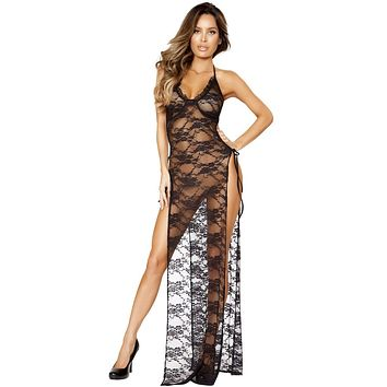 Sexy Italian Maxi Gown With Tied Straps and Splits