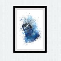 Tardis watercolor print Tardis colorful poster Doctor Who print Dr Who poster Home decoration Kids room wall art Wall hanging art decor W297