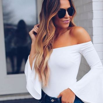 Two Timin' Off The Shoulder Bodysuit - Ivory