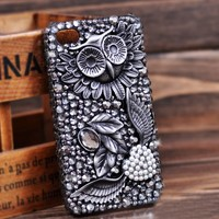 retro fashion love diamond/Rhinestone  owl case for iphone 4/4s