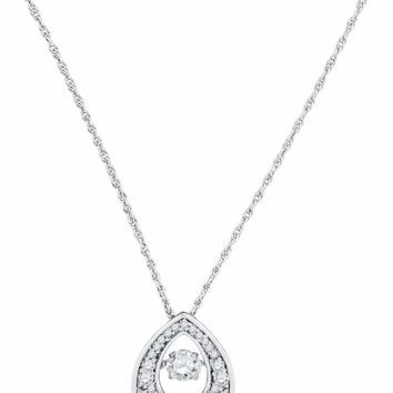 10kt White Gold Women's Round Diamond Moving Twinkle Solitaire Teardrop Pendant 1-2 Cttw - FREE Shipping (US/CAN)